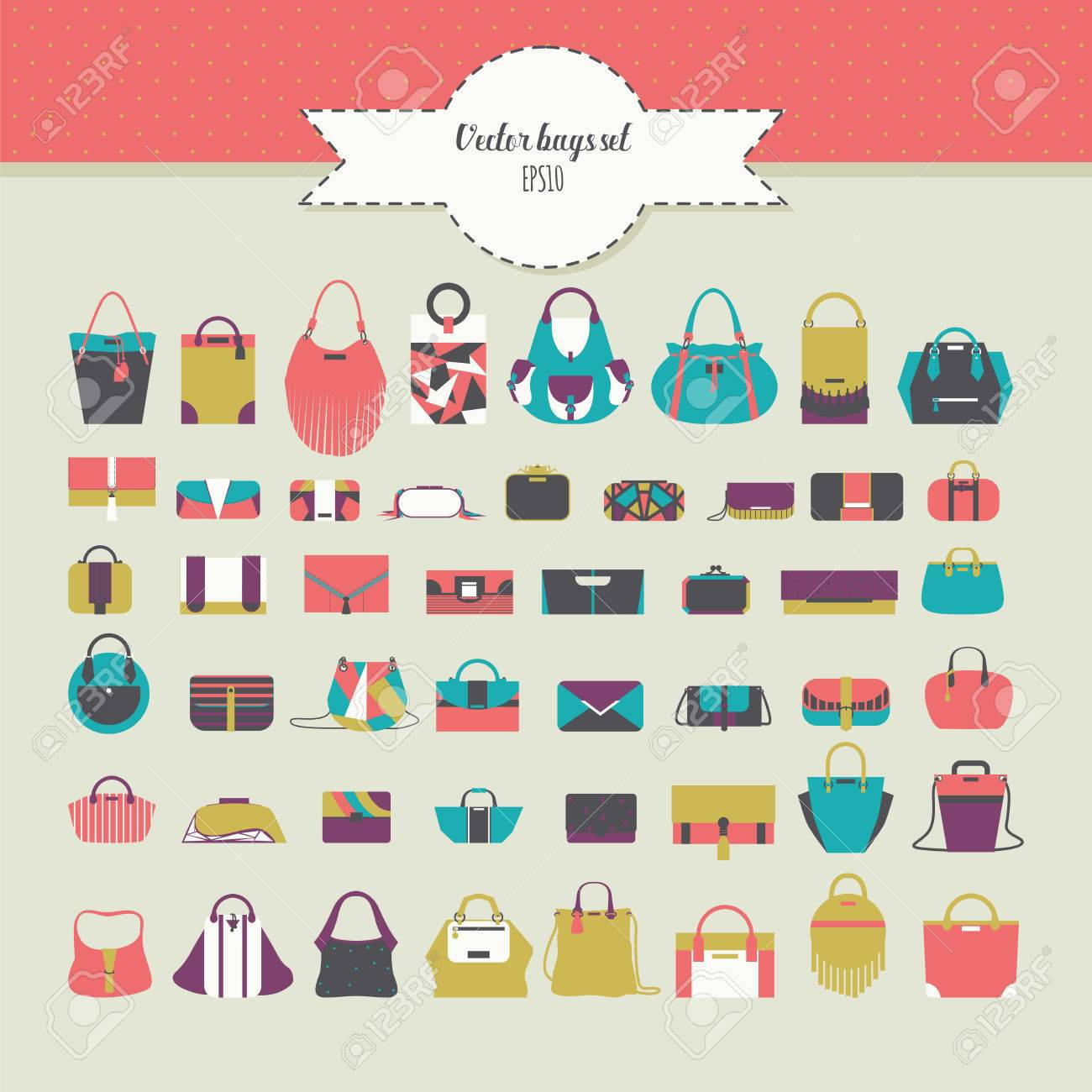 Vector fashion illustration set in bright colors. Various accessories for  women. Big beautiful bundle with flat women bags in different design -  handbag, ... 3bdf1c6eb3