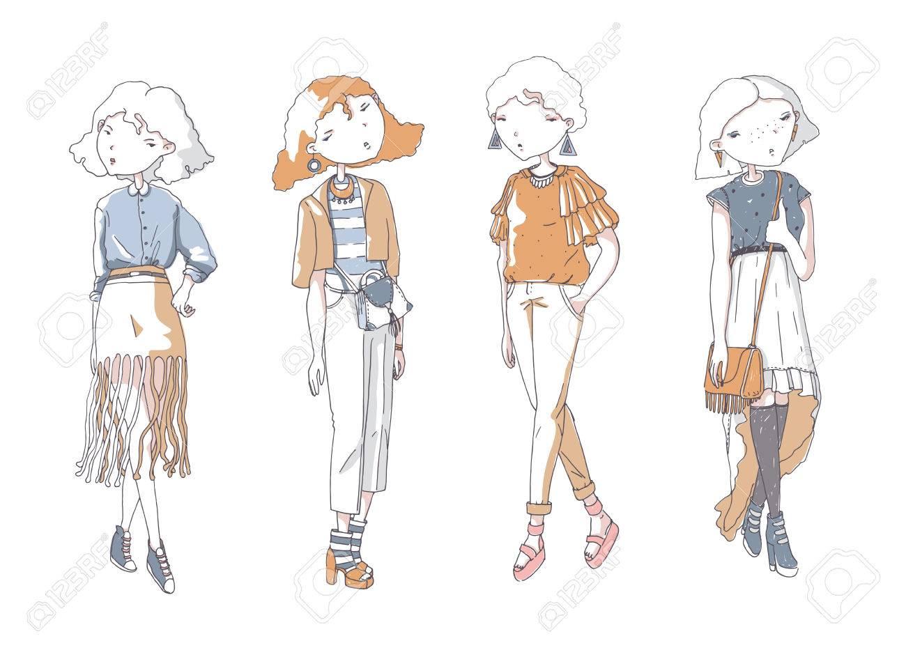 ベクトルのファッションの女の子を設定します。手は、バッグ、靴、カジュアルな服で美しい色の女の子とクリエイティブ  イラストを描いた。落書きスタイルの白いスケッチ上に分離。かわいい女の子の文字。