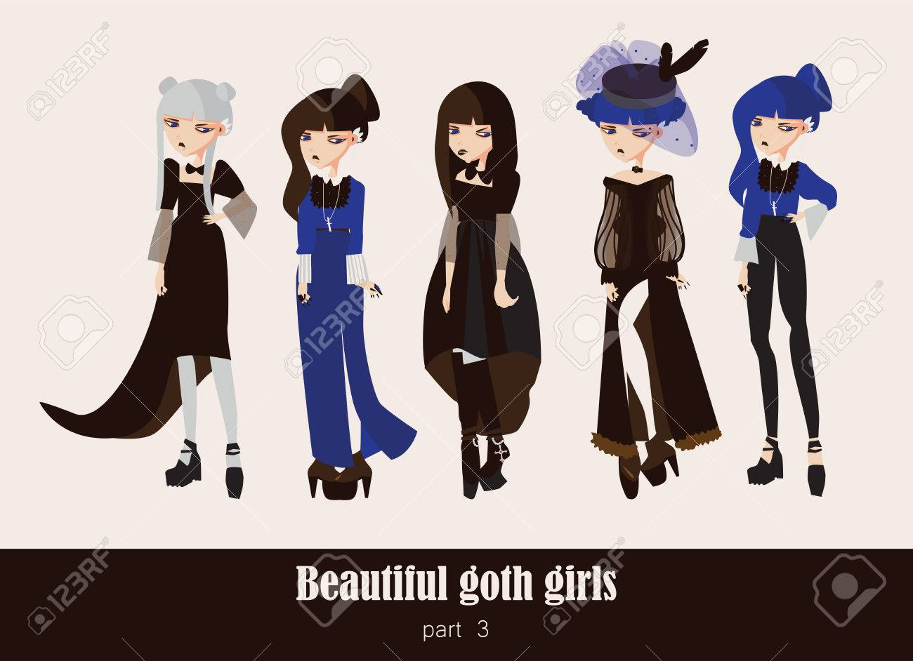 22b7c070bba Vector - Vector set with isolated on background gothic girls. Goth clothes  in dark colors