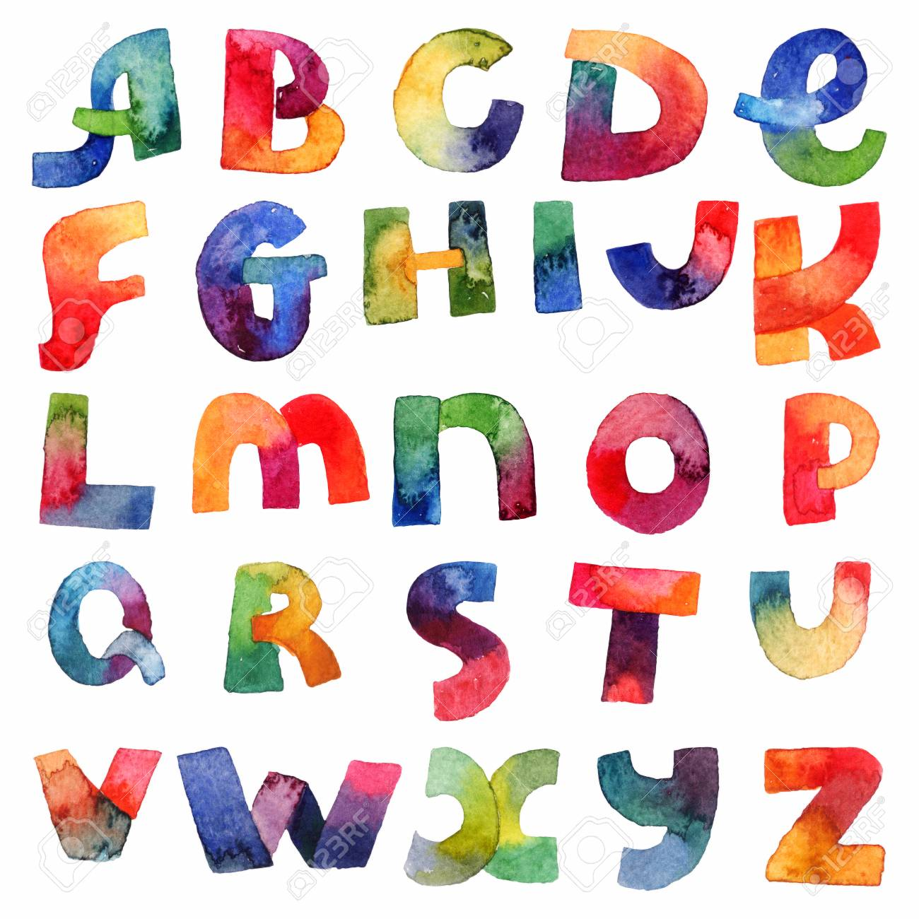 Gradient Watercolor Font From A To Z In Hand Drawn Bright Style Letters Sequence