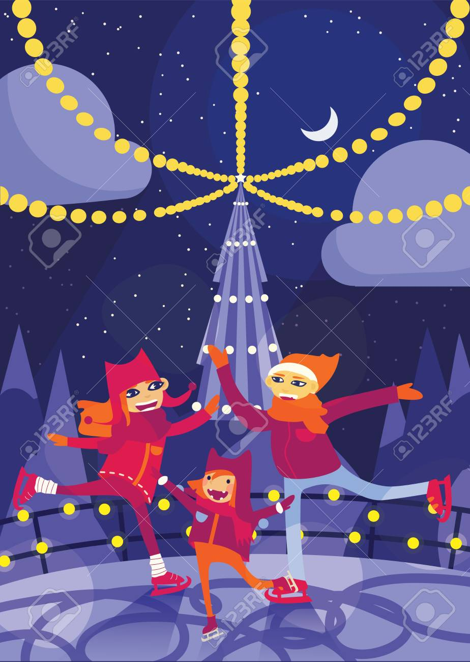 Christmas On Ice.Vector Vertical Illustration With Lovely Family Skating On Ice