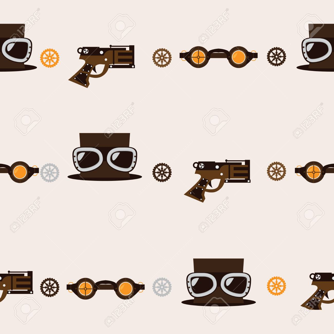 Seamless square pattern with steampunk accessories like old fashioned  revolver 3f0699f1f79