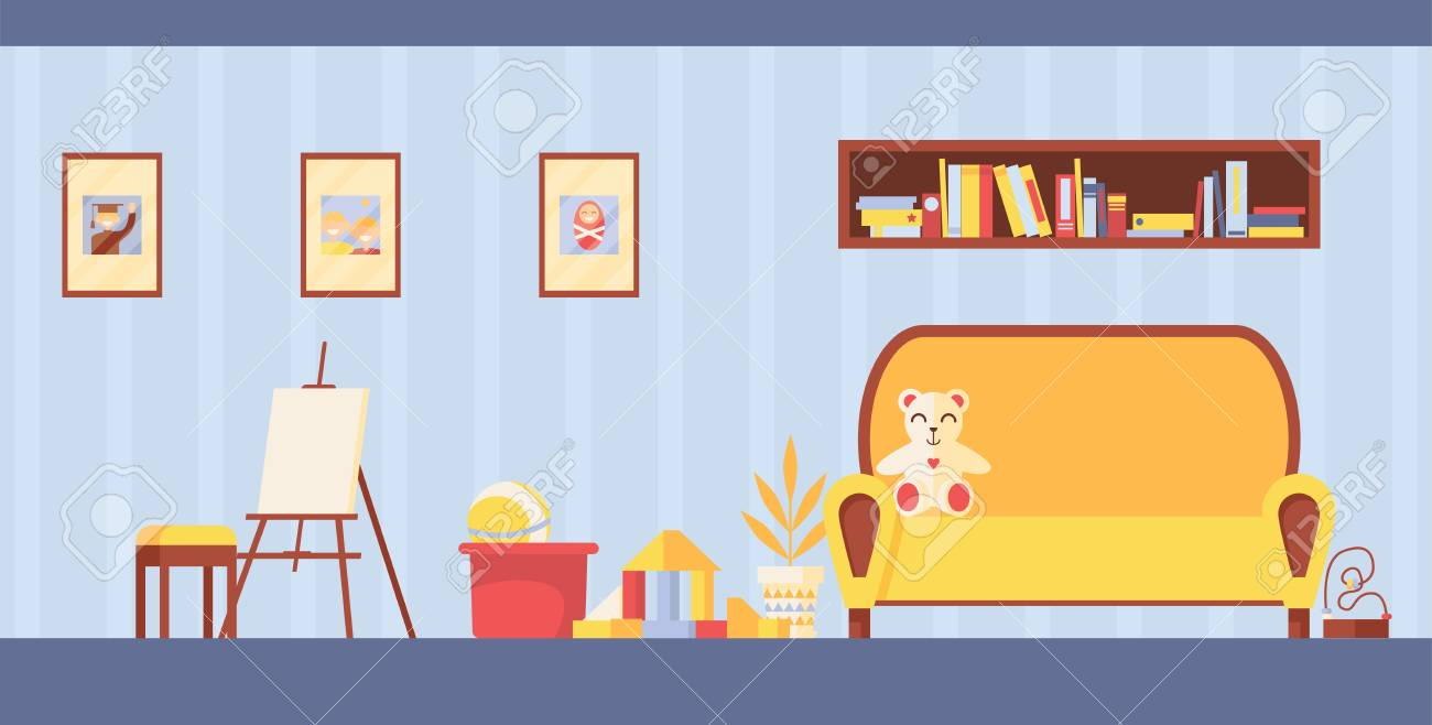 28f0dac117ce46 Vector - Vector kids room interior for study and painting. Horizontal  playroom with easel, toys and sofa in light colors. Teddy bear on couch and  frames for ...