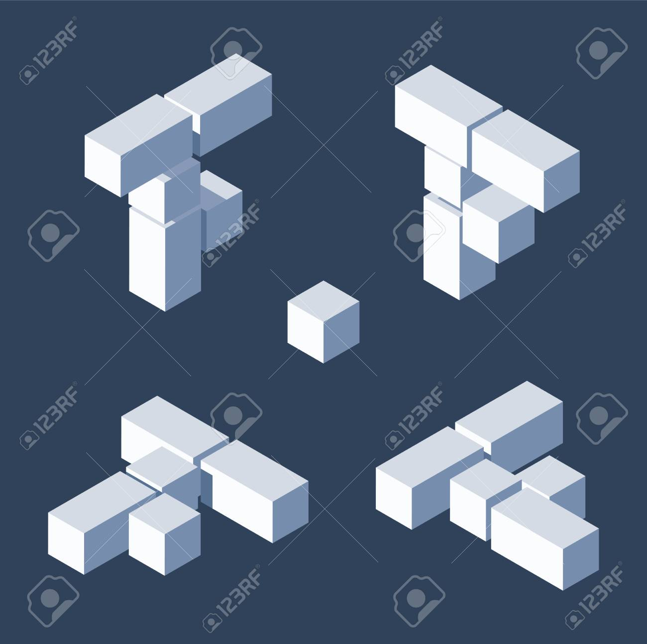 Isometric letters F in varions views. Made with 3d blocks and cubes. - 115151197