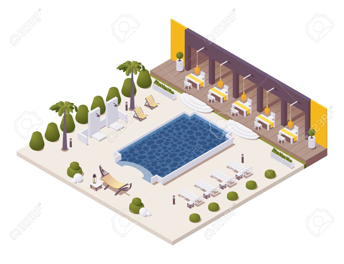 Isometric Pool Near The Restaurant At Beach Resort With Sunbeds Royalty Free Cliparts Vectors And Stock Illustration Image 147821268
