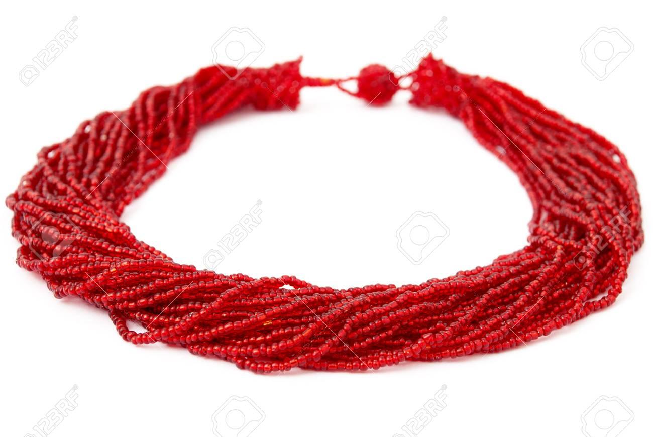 Bedwelming Rood, Kralen, Handgemaakte Afrikaanse Halsketting Geïsoleerd Op #OS06