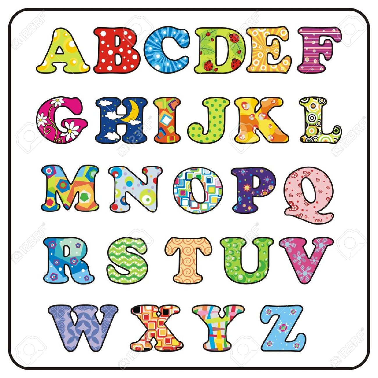 abc cartoon colorful alphabet illustration