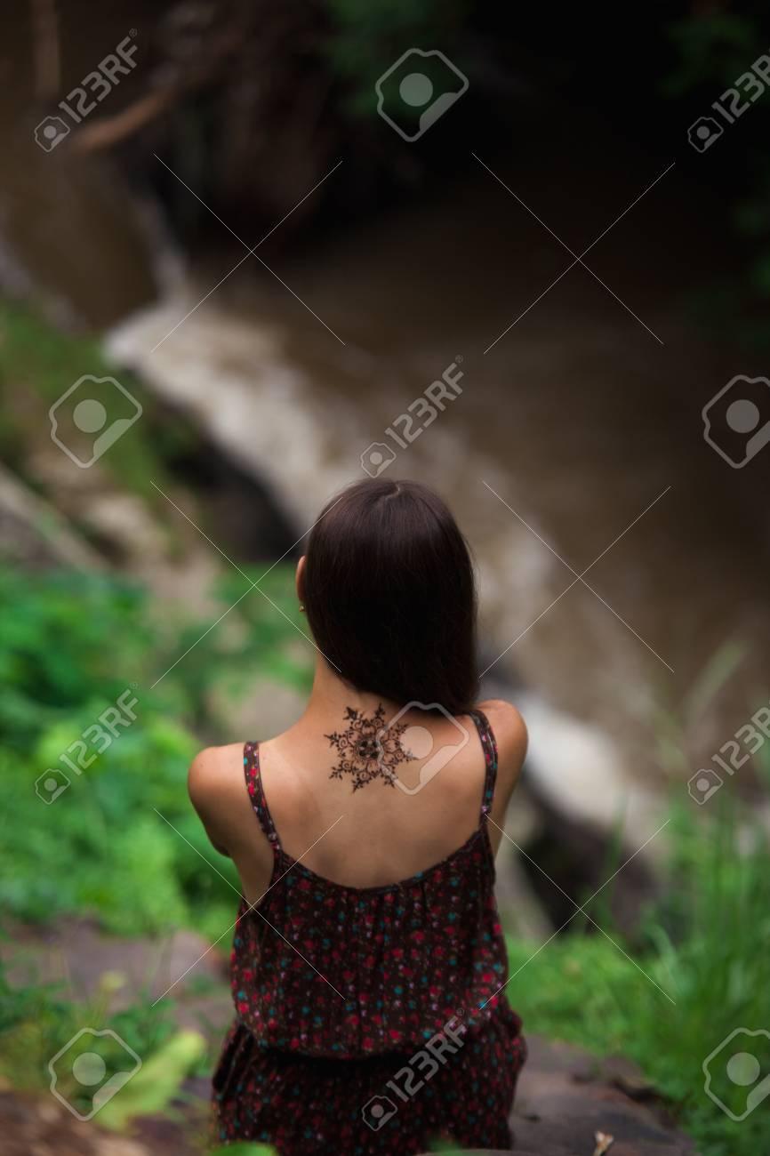 Mandala Henna Tattoo Design On A Back Side Of A Neck Beautiful
