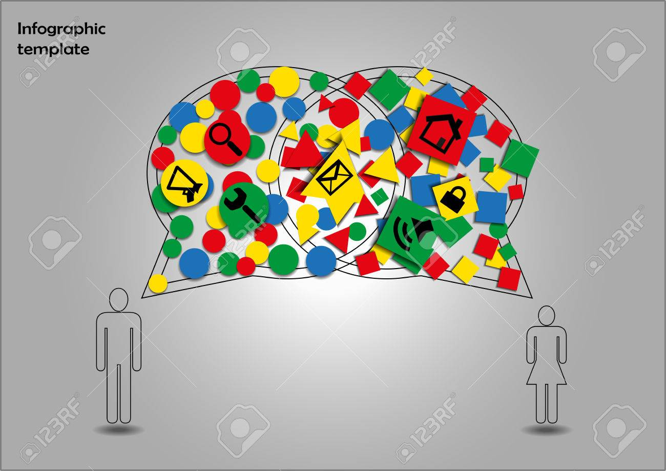 Infographic With Gender Signs And Communication Symbols Stock Photo