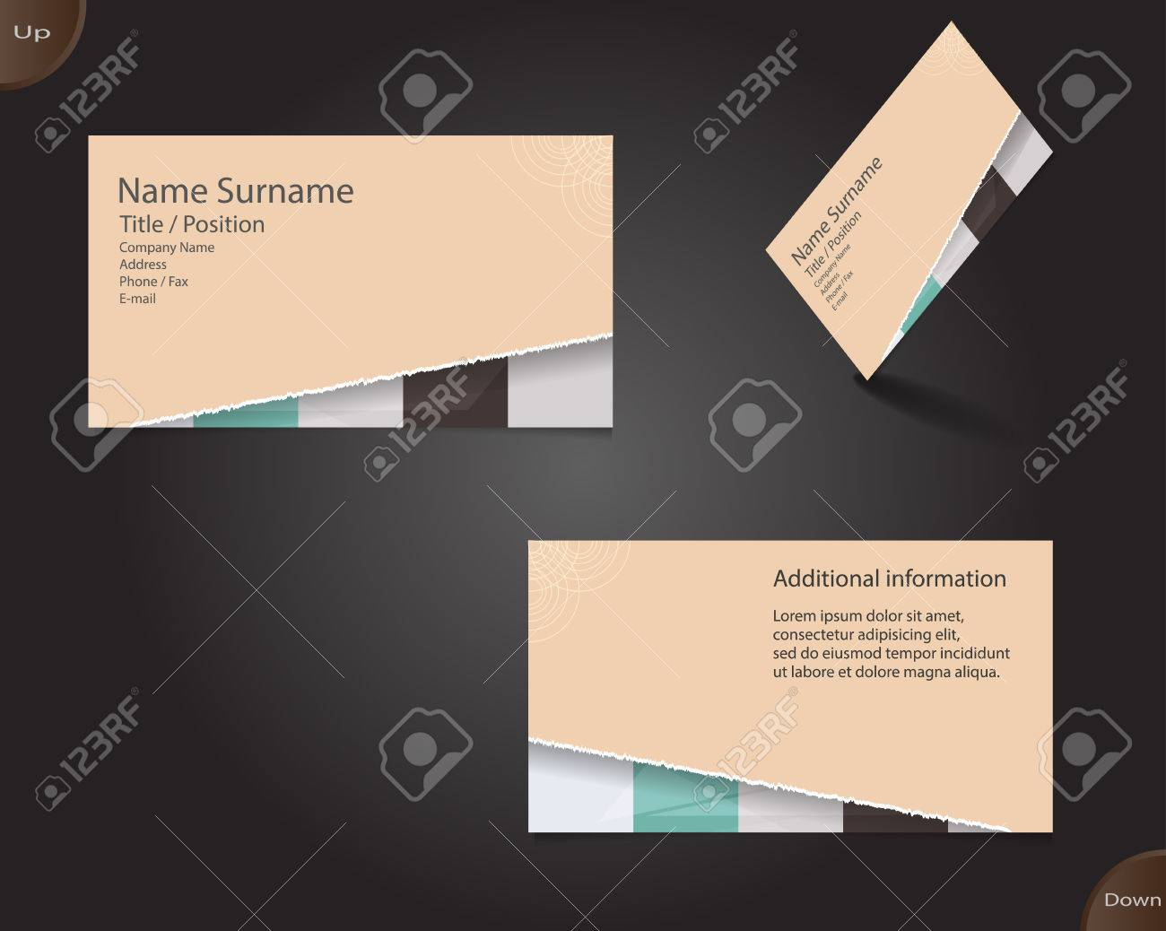 Business card layout with modern creamy colors and ornaments..
