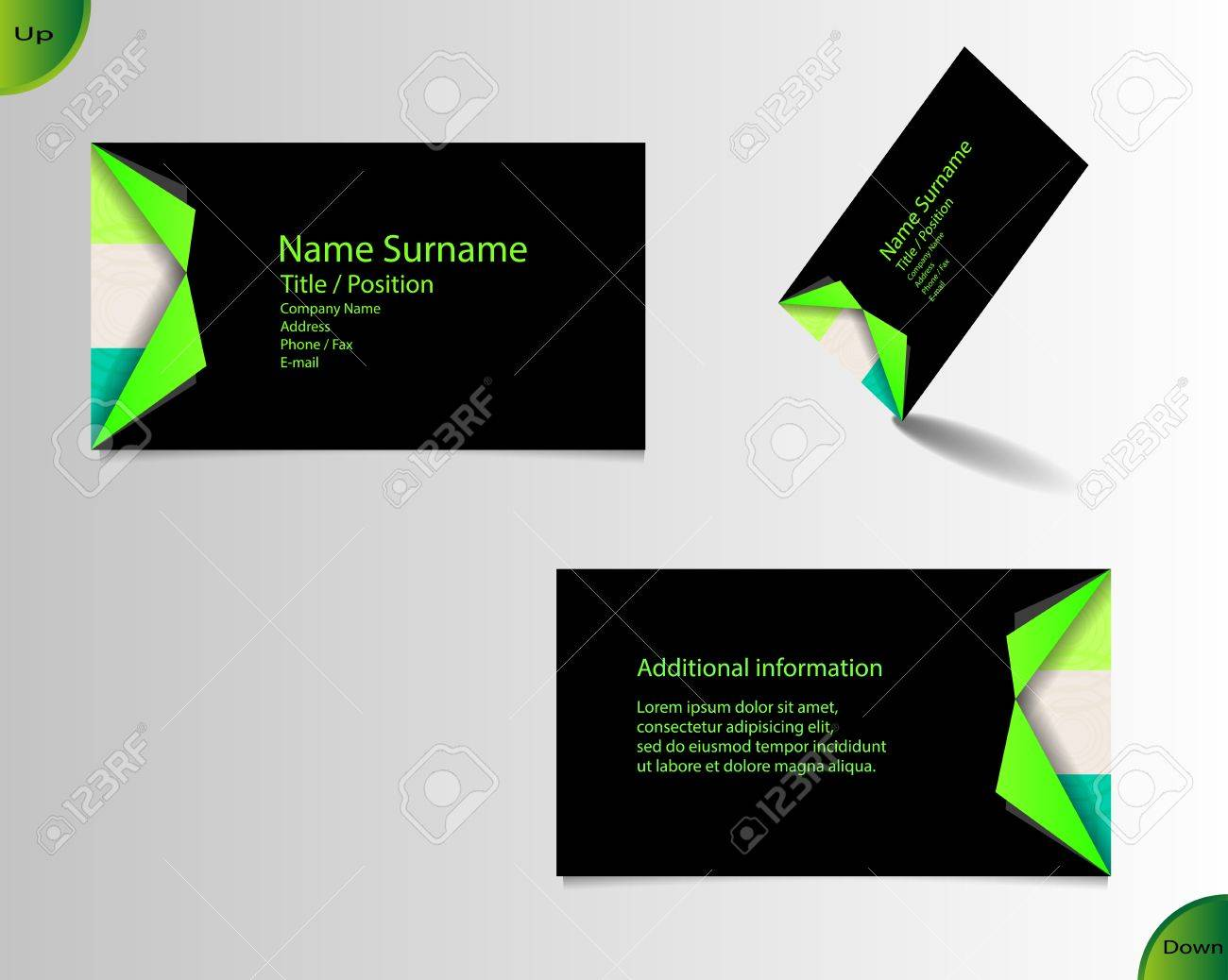 Business Card Layout With Modern Colors And Ornaments With Two