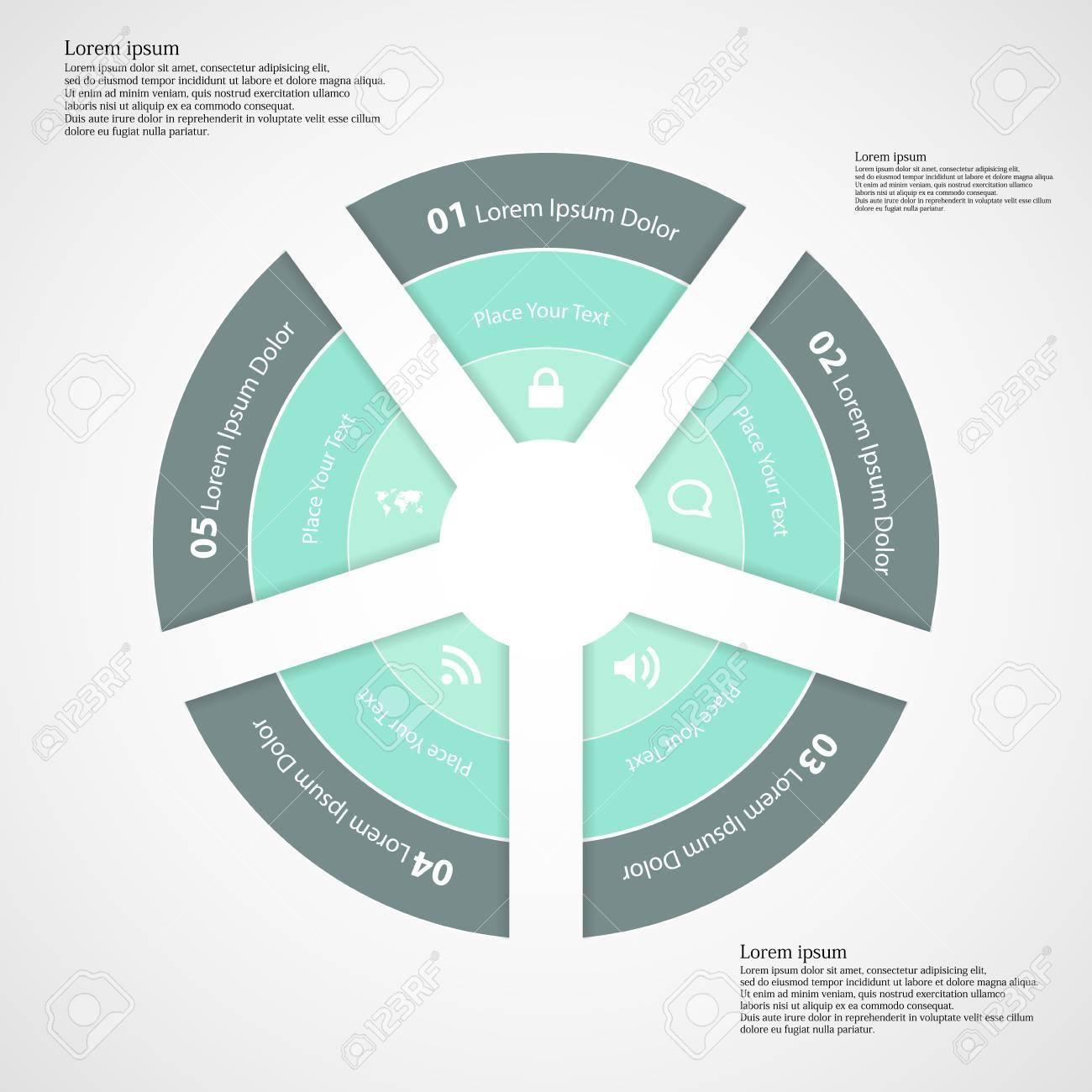Ilustración Infografía Con Forma Redondeada Divide A Cinco Partes ...