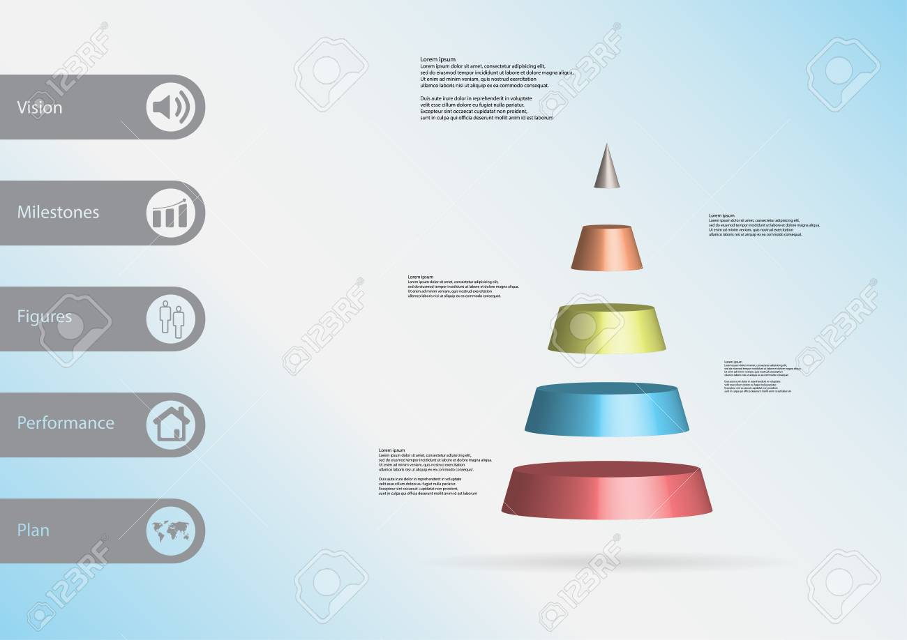 3D Illustration Infographic Template With Motif Of Cone Triangle Horizontally Divided To Five Color Slices