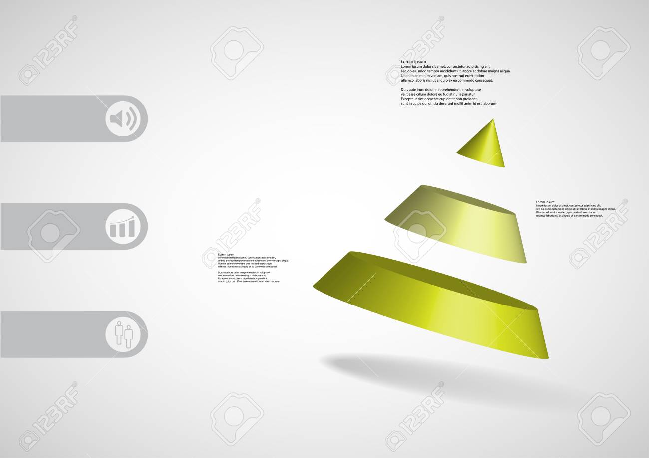3D Illustration Infographic Template With Motif Of Cone Divided To Three Green Parts Askew Arranged