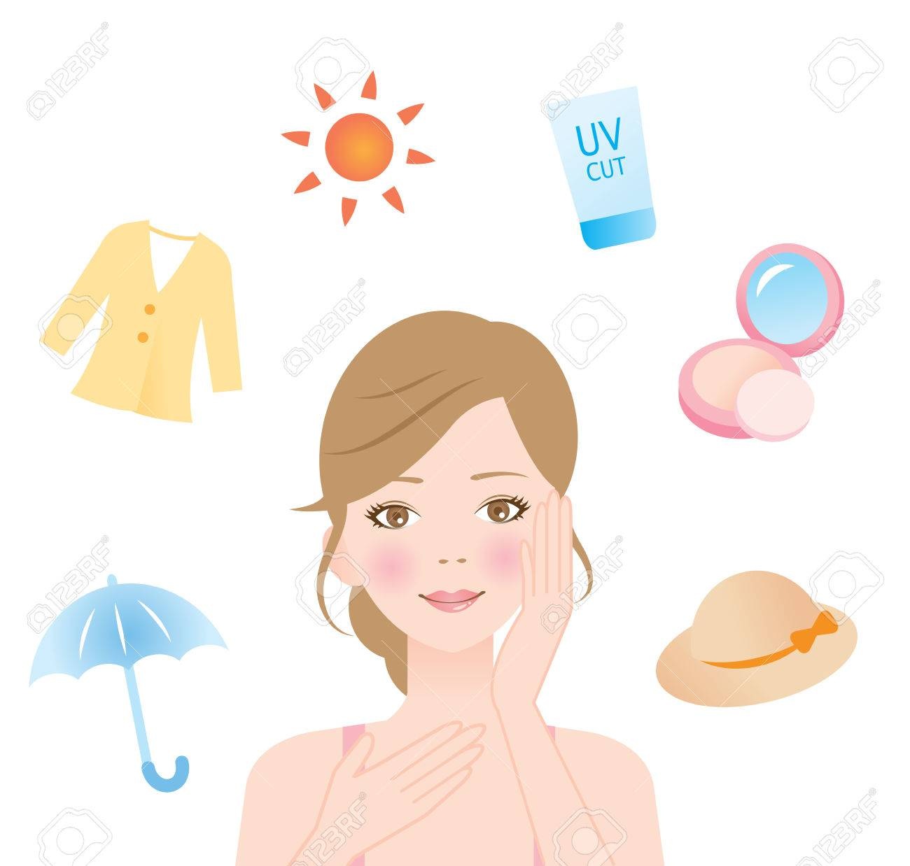 woman protect her skin from ultraviolet rays - 59920822