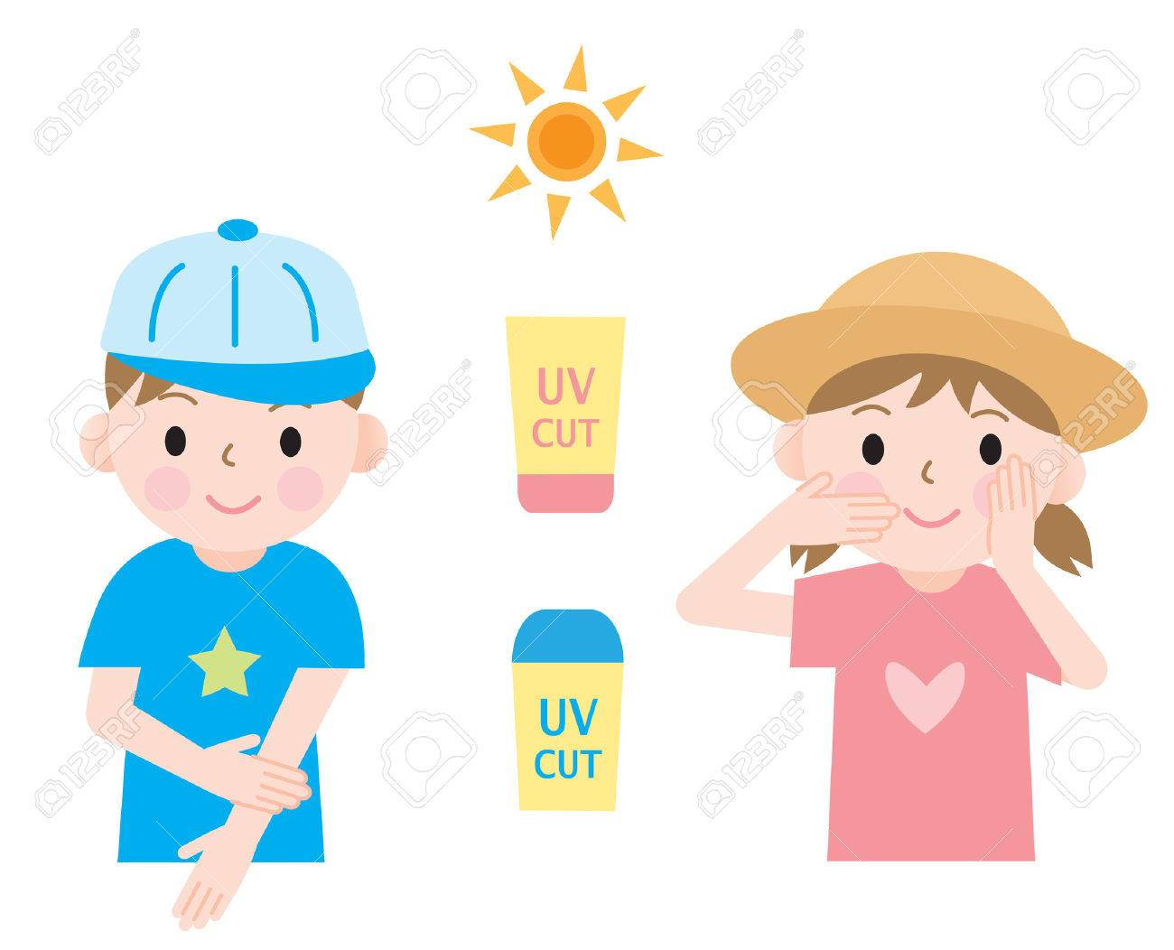 c0f9ddbd3de kids protect their skin from ultraviolet rays with hats and sunscreen. Stock  Vector - 59920826