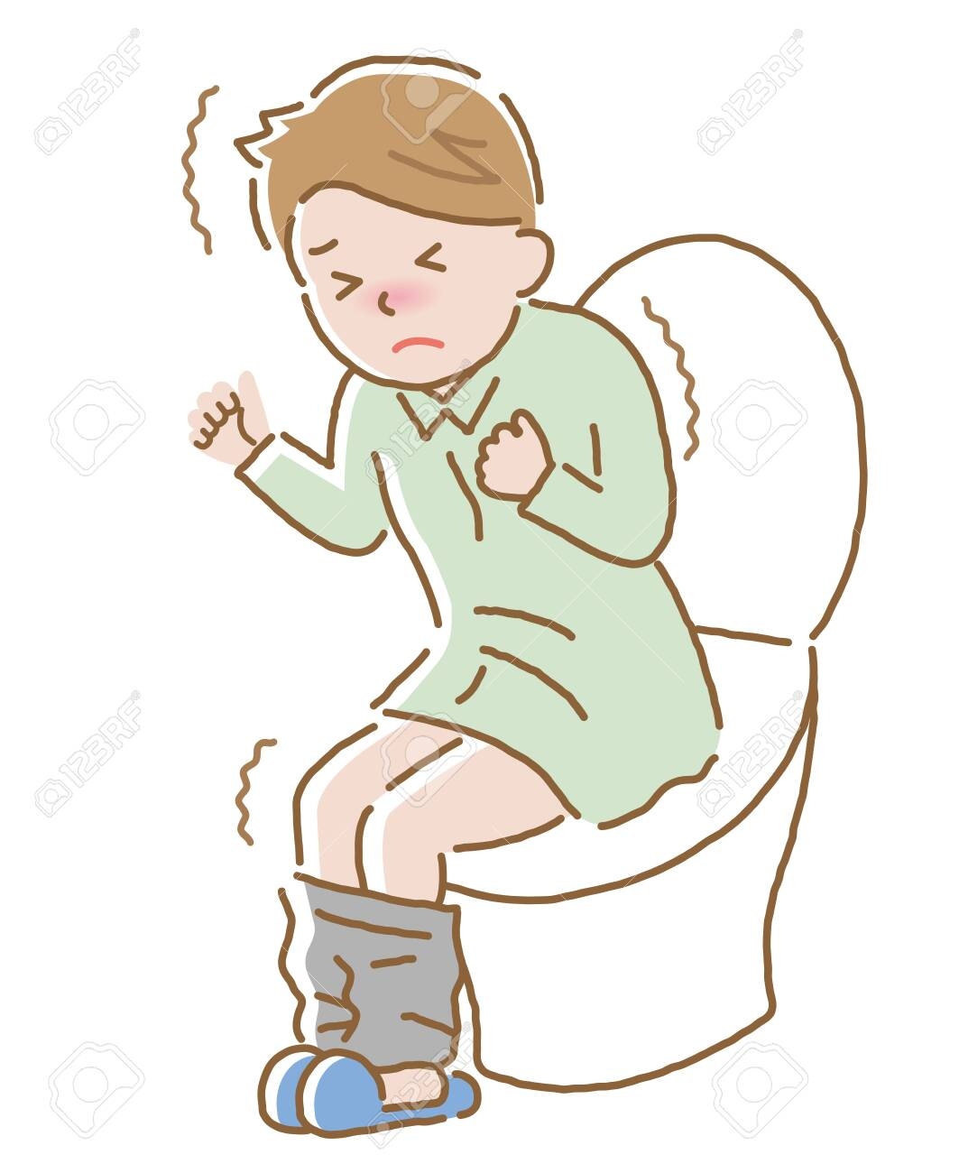 young male with stomach pain at restroom. Isolated on white background - 133201300