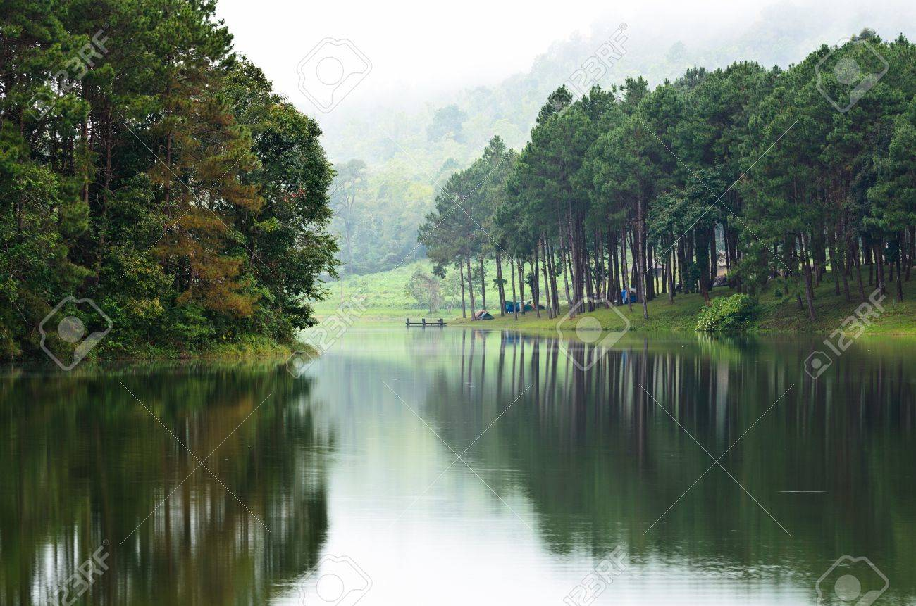 Pang Ung  Beautiful forest lake in the morning  Mae Hong Son  Thailand Stock Photo - 17440636