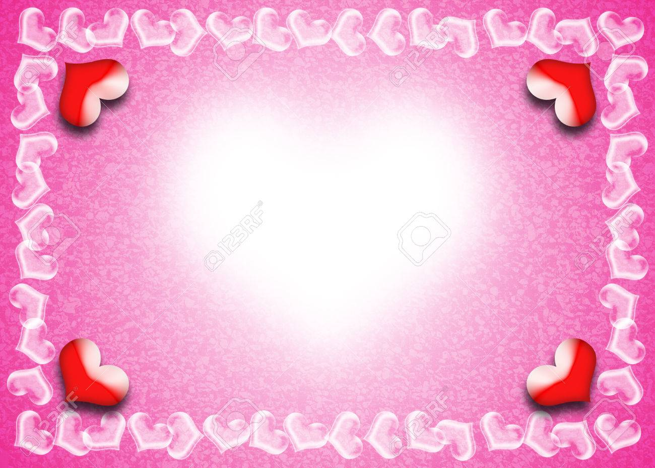 Valentine Day Card, Heart Frame On Pink And White Background ...
