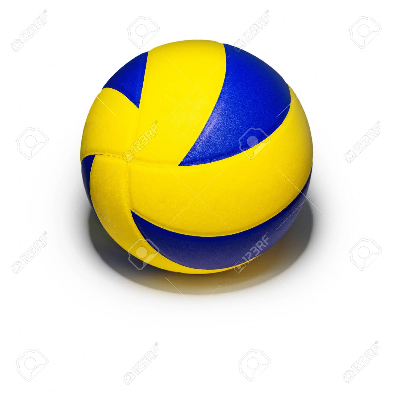 Closeup yellow blue volleyball sports equipment with light shining from above, with shadow below, isolated leather volley ball object on a square white background - 143664618