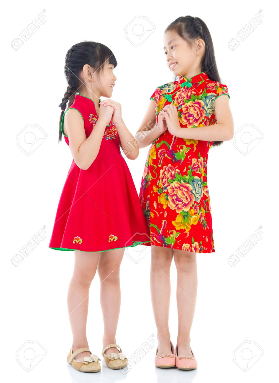 Happy chinese new year chinese girls in traditional chinese stock happy chinese new year chinese girls in traditional chinese greeting to each other isolated m4hsunfo