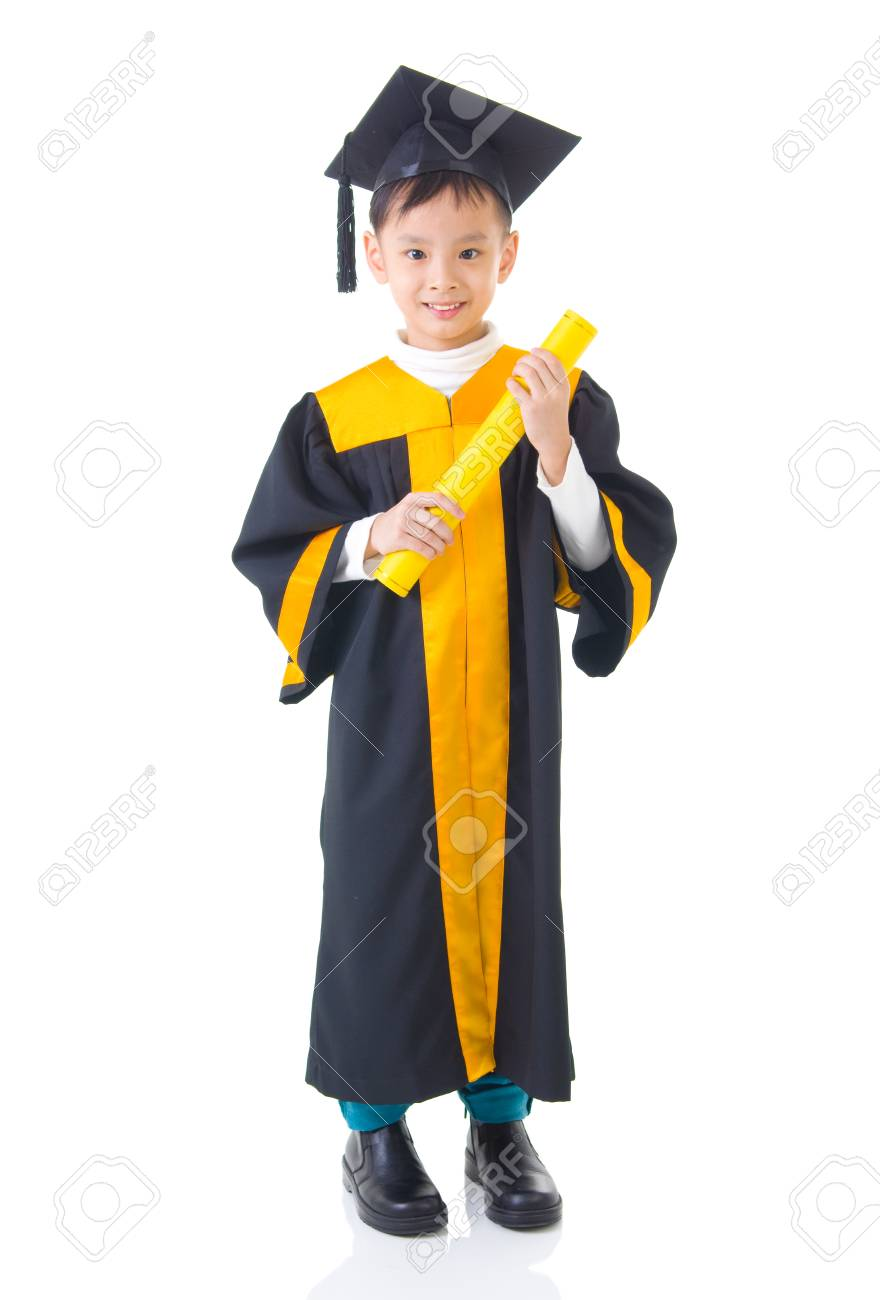 Asian Kid In Graduation Gown Stock Photo, Picture And Royalty Free ...