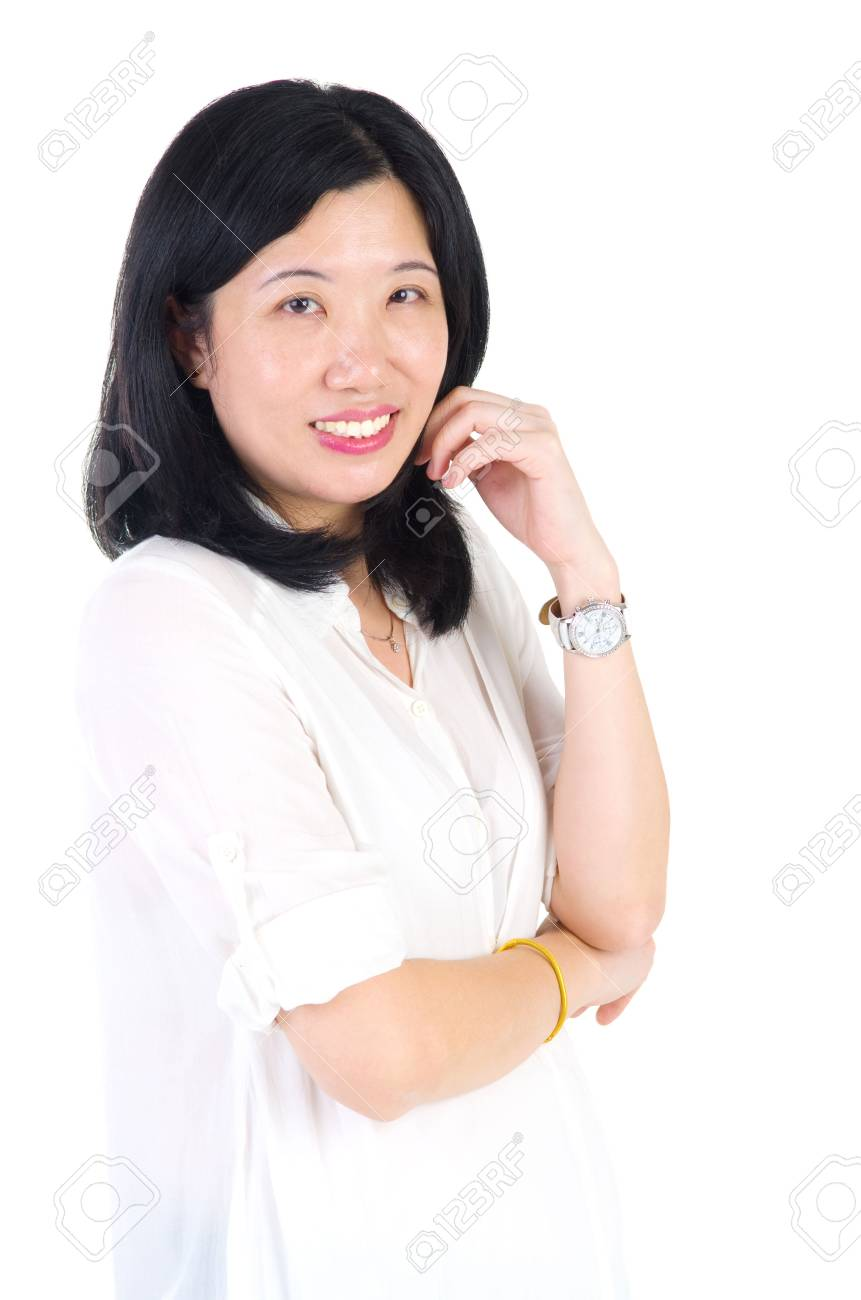 asian mature woman smiling happy portrait. beautiful mature middle