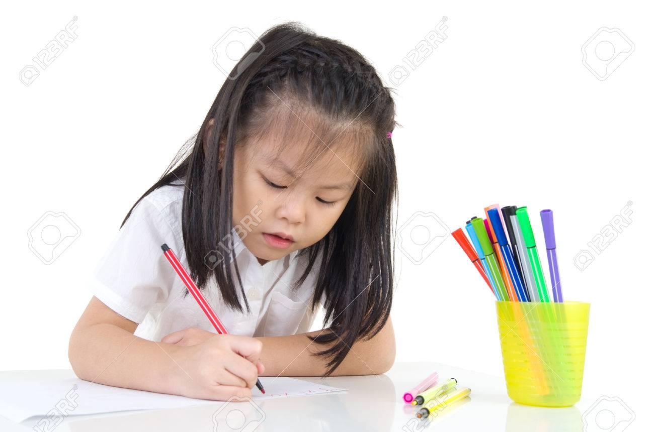 Dibujo Asiatico Precioso De La Muchacha Con El Lapiz Coloreado Fotos