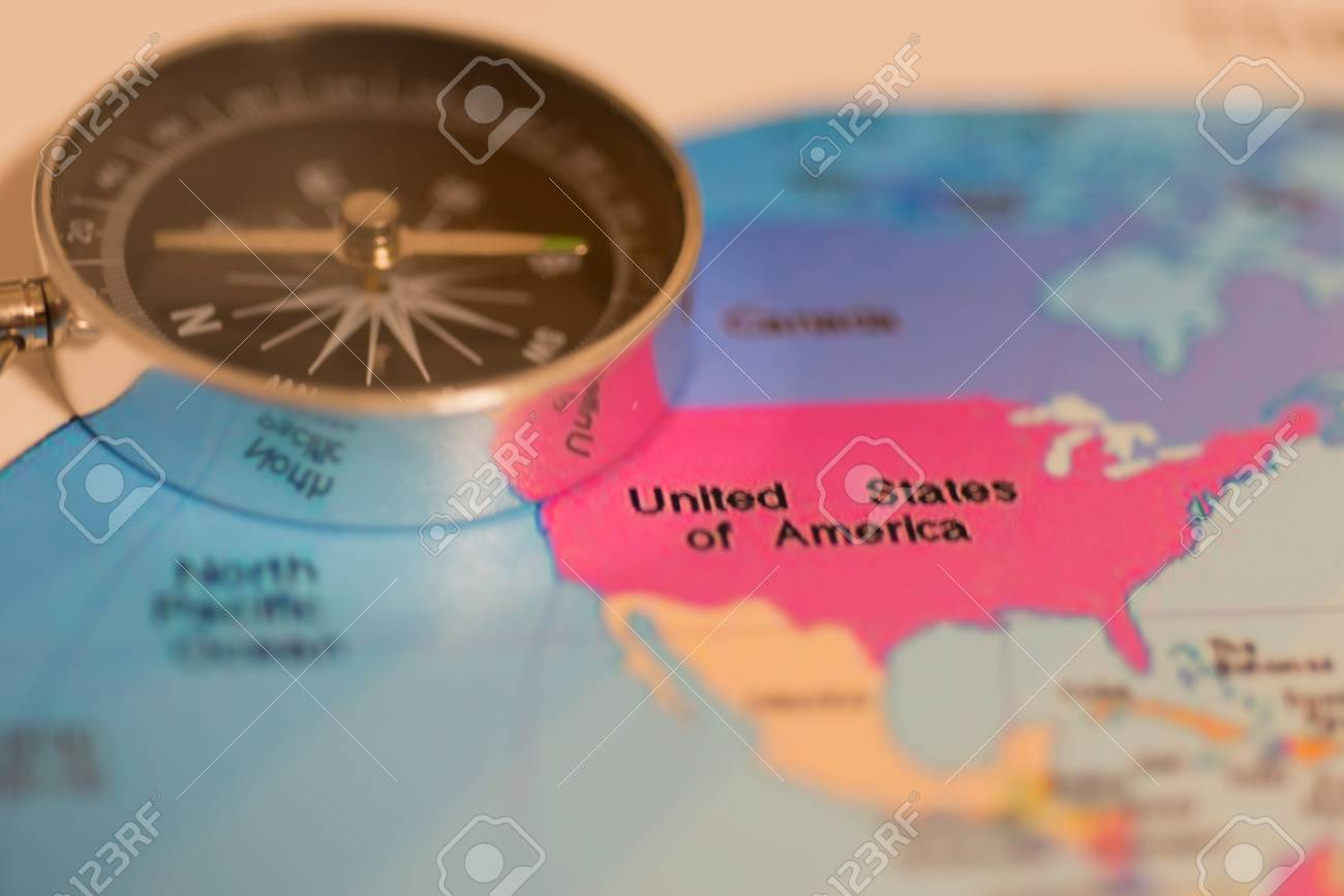 America Map With Compass.America S Land Map With Compass Stock Photo Picture And Royalty