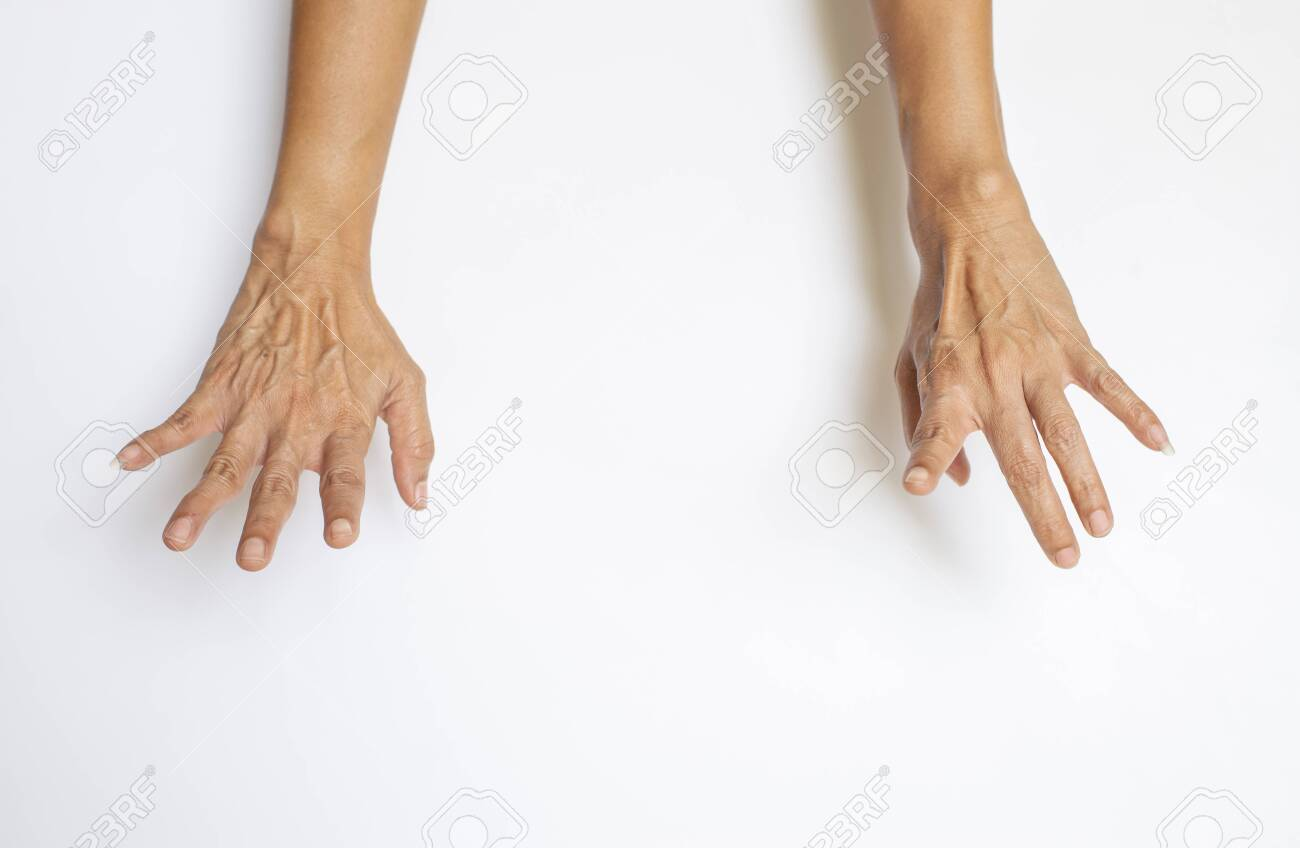 The gesture of the person's hand and finger on a white background - 148924641