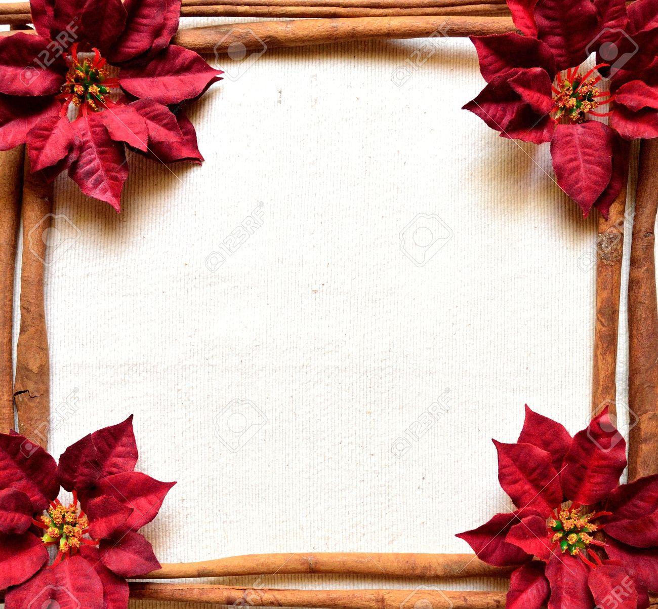 Roter Weihnachtsstern Und Zimt. Weihnachten Frames Lizenzfreie Fotos ...