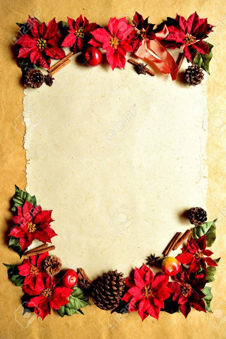 red poinsettia christmas frame Stock Photo - 10429090