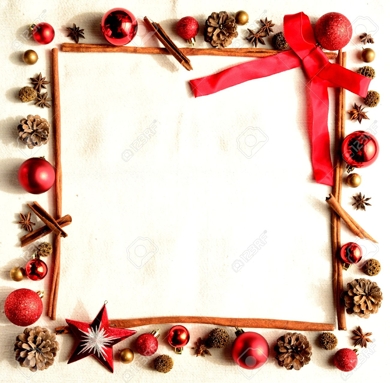 Frame Of Christmas Decoration With Red Ribbon Stock Photo Picture