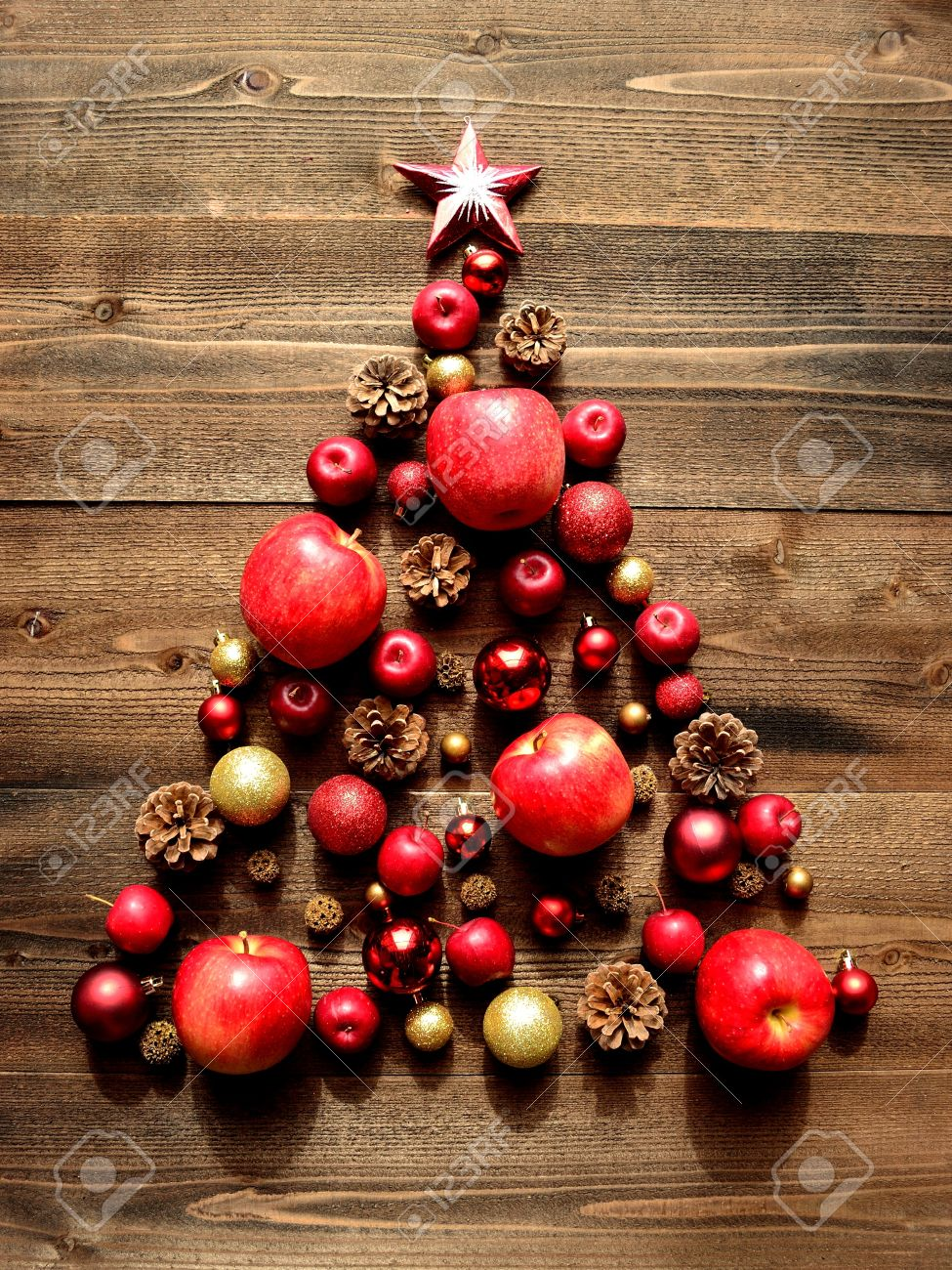 christmas tree of red apples stock photo picture and royalty free
