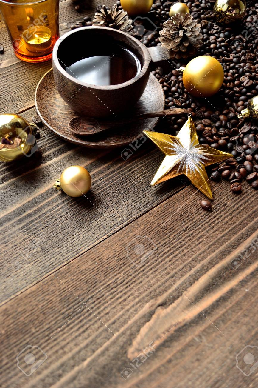 Coffee Christmas Ornaments.Coffee Cup Coffee Beans And Xmas Ornaments