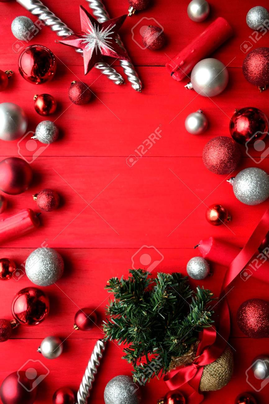 Weihnachtsbaum Rot Silber.Stock Photo