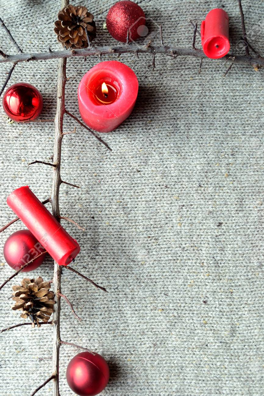 Red Christmas Ornaments With Red Candles.frame.on Knit Fabric ...