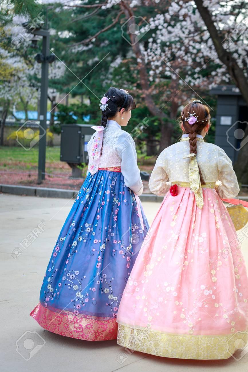 Seoul South Korea Apr 6 2018 Asian Korean Woman Dressed