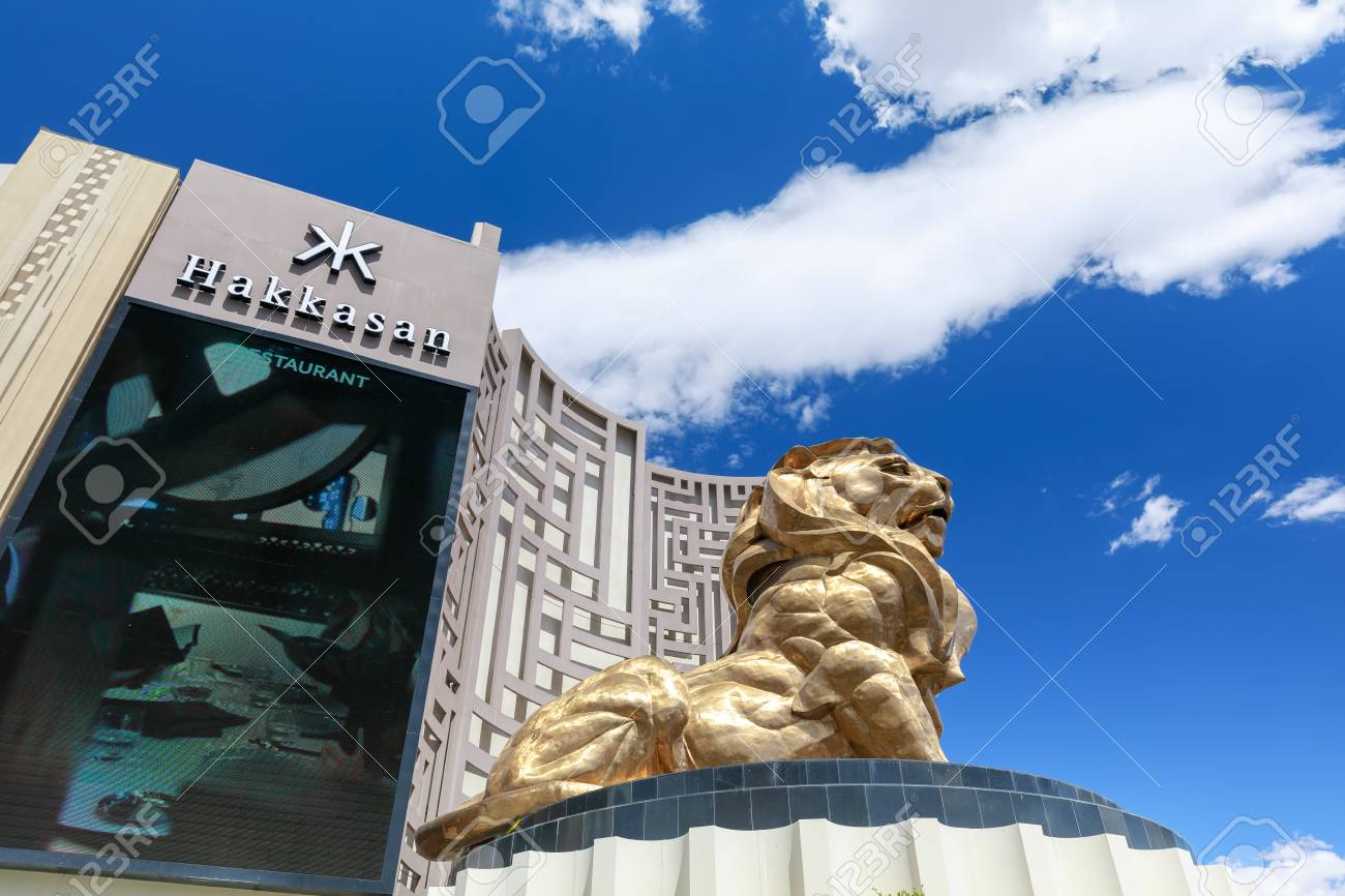 Las Vegas Nevada May 28 2018 The Famous Giant Golden Lion Stock Photo Picture And Royalty Free Image Image 105372199