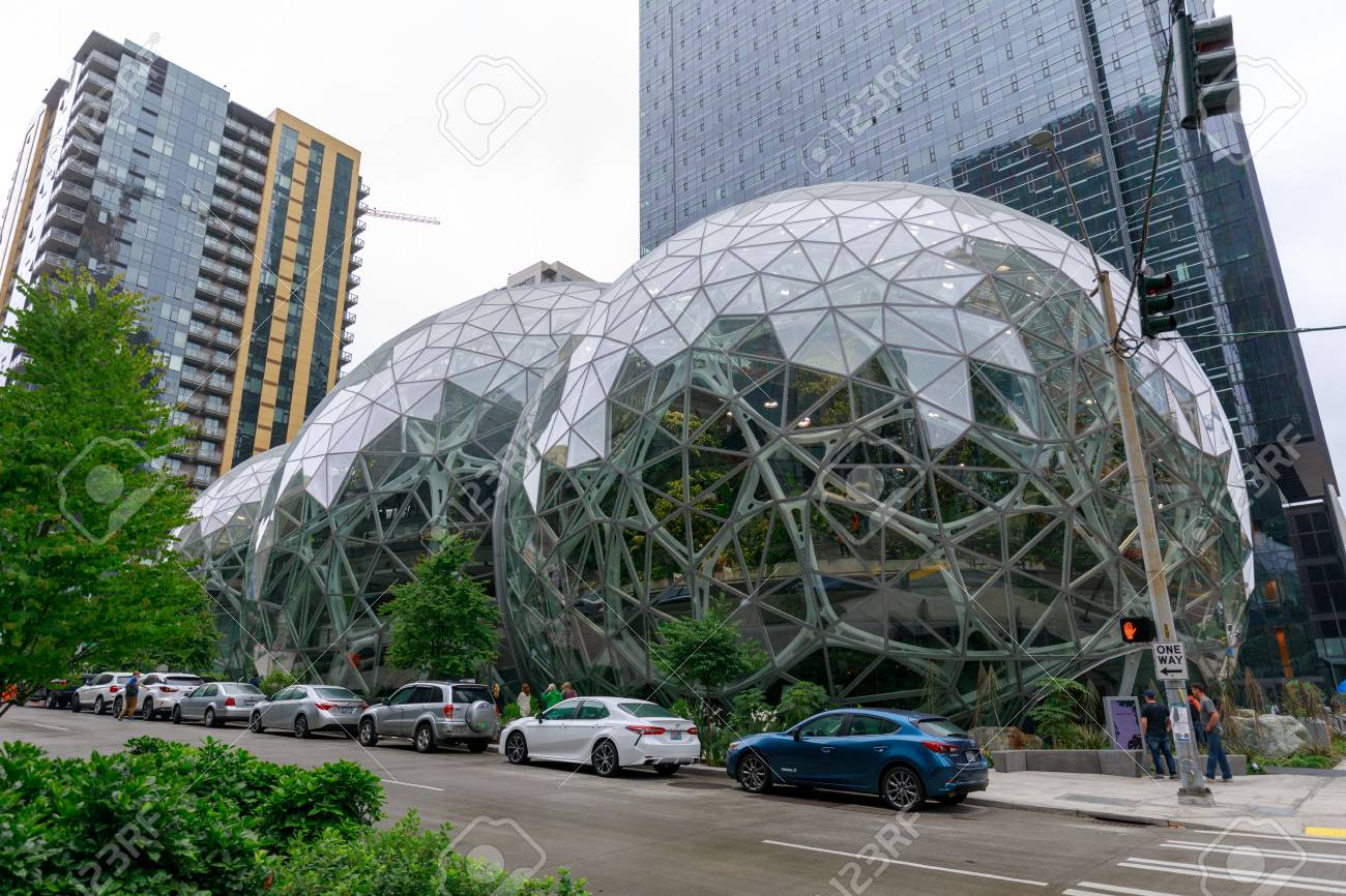 Seattle Washington June 30 2018 View Of Amazon The Spheres