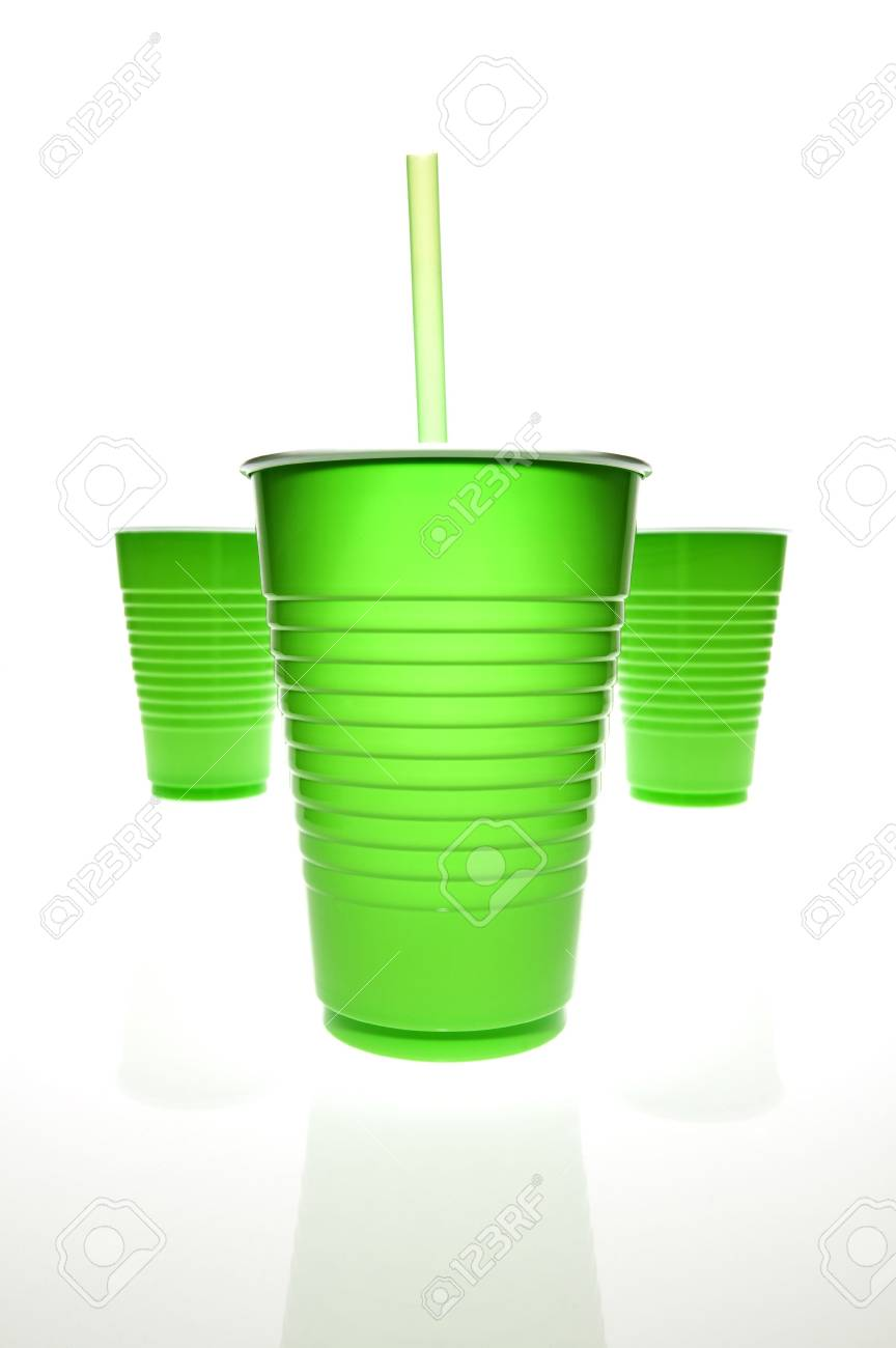 Empty plastic cups with mirrored reflection and a straw. Stock Photo - 4871693