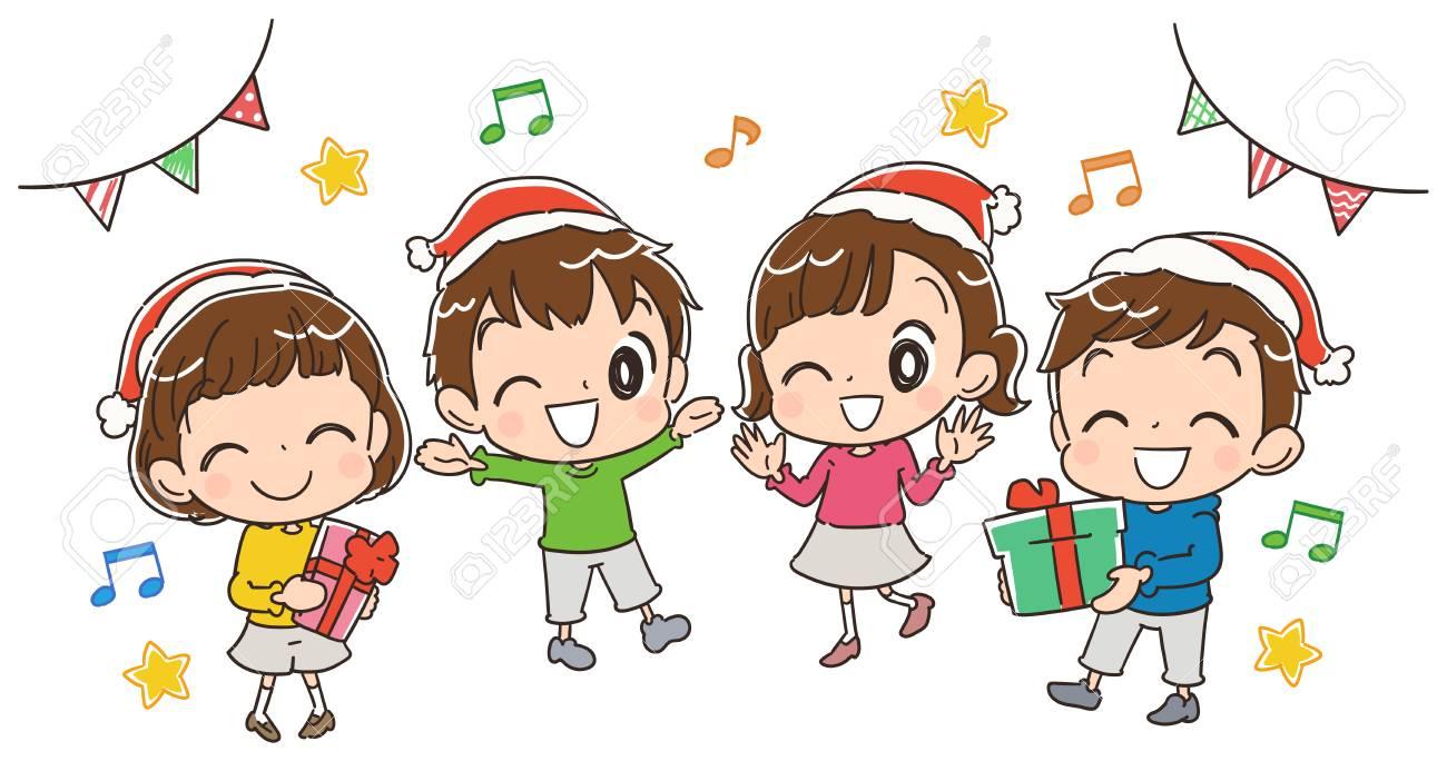 Los Niños Disfrutan De La Fiesta De Navidad Ilustraciones Vectoriales, Clip  Art Vectorizado Libre De Derechos. Image 84045937.