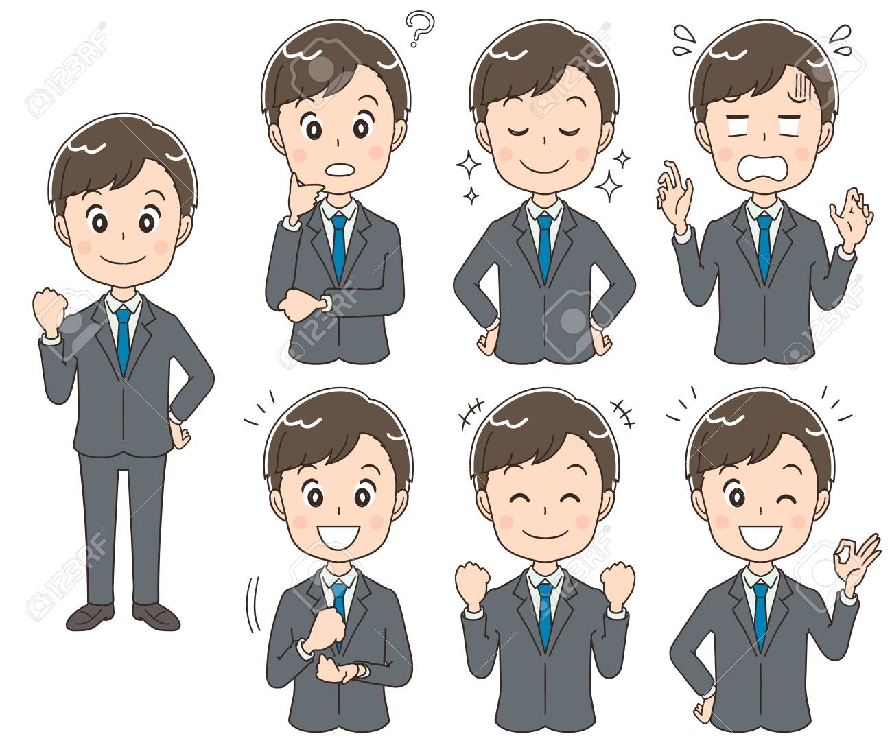 A collection of young businessmen with different expressions. - 92653897