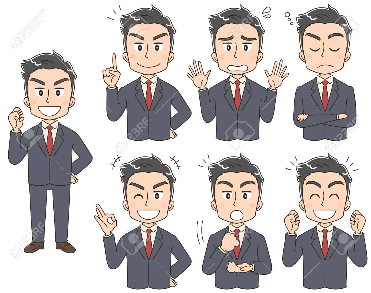 A collection of reliable businessmen who have various expressions - 110517376