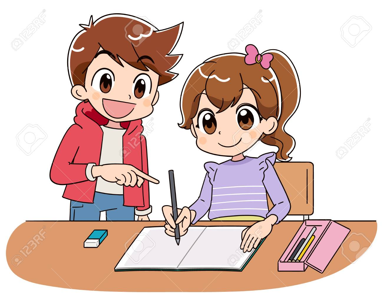 A girl is studying on a notebook. With a boy. - 116031651