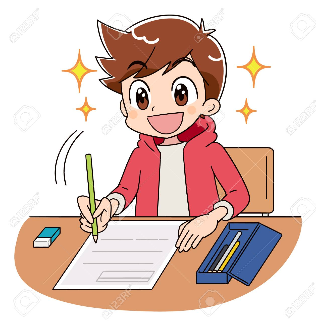 A boy is working on the test. He is shining full of hope with a smile. - 115569840