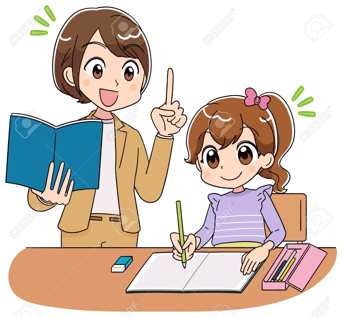 The teacher teaches a girl study - 124834388