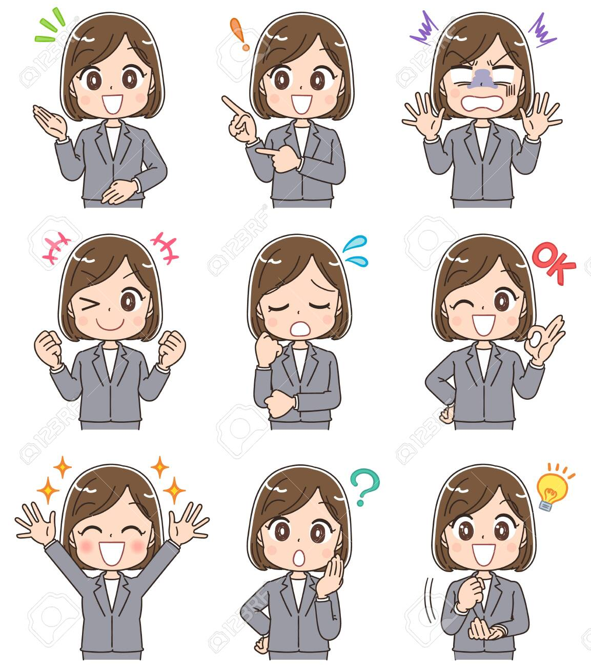 Young business woman has various facial expressions. - 133801478