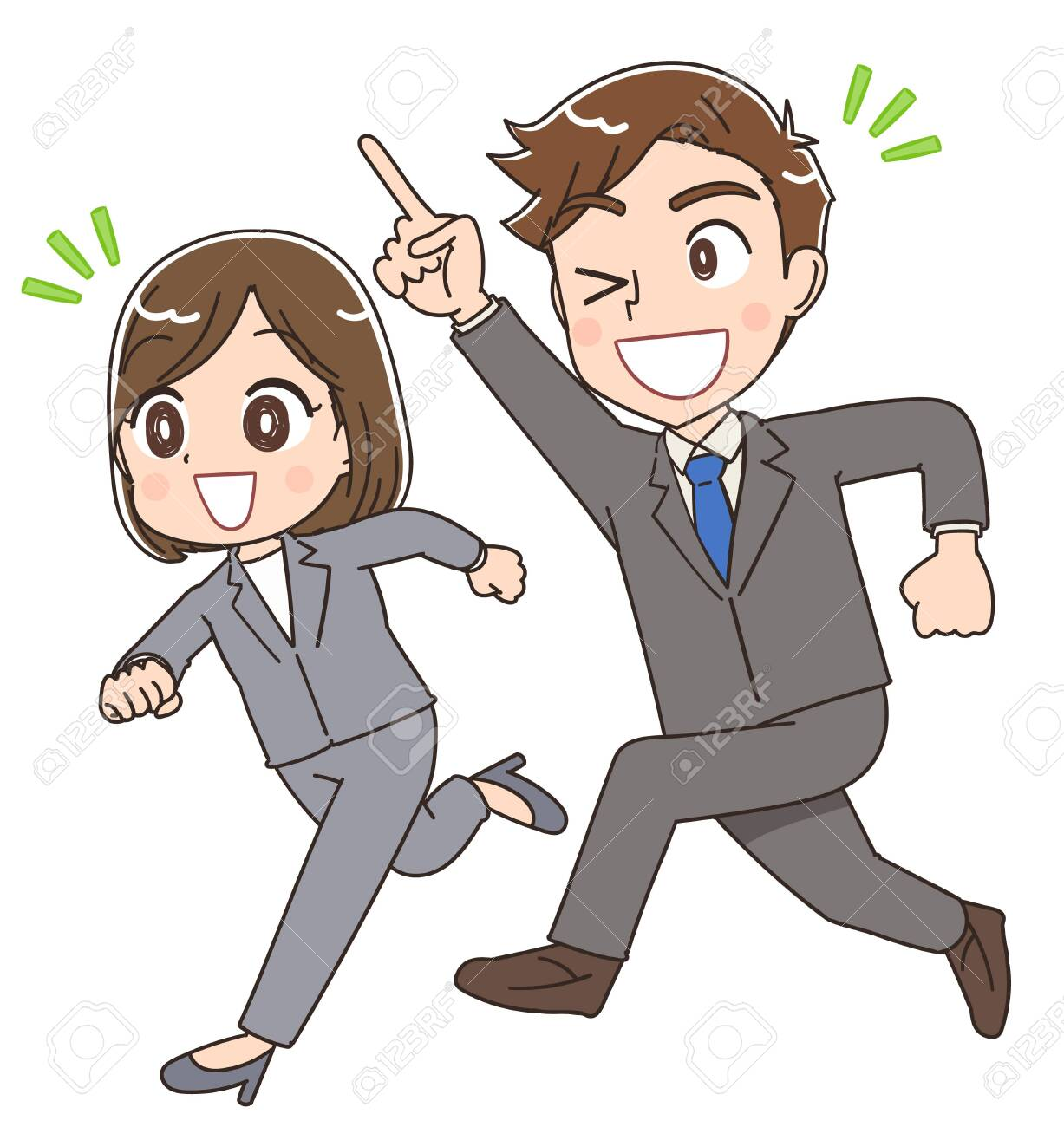 Young businessman and businesswoman.They are running forward. - 136710700