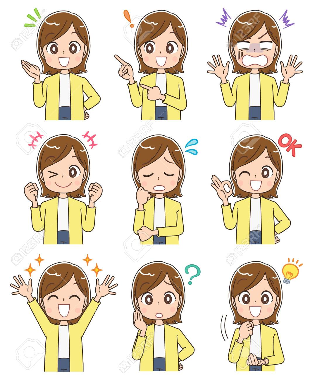 Young woman wearing a yellow cardigan.She has various expressions. - 140798202